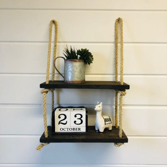 Hanging Double Rope Shelf - Native Range
