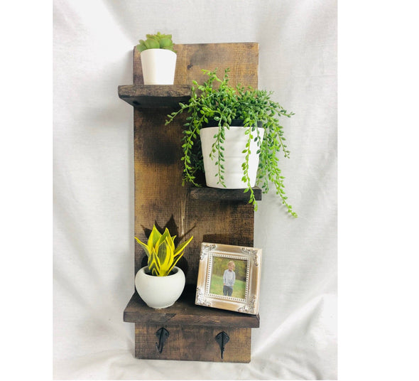 Rustic Shelf with Hooks - Native Range