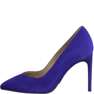 Tamaris Suede Leather Heeled Court Shoe Royal/Blue 22443-24 838