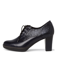 Tamaris Navy Leather Heeled Platform Laced Shoe 23309-25 874