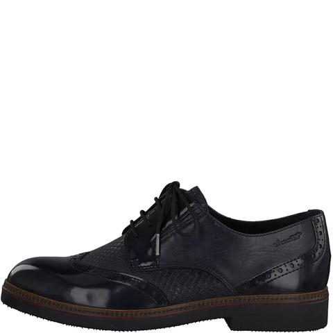 Tamaris Navy Leather/Patent Laced Brogue Shoe 23711-25 805