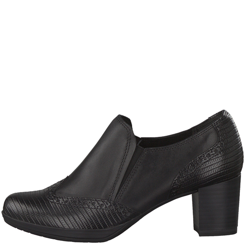 Marco Tozzi Black Croc Leather Heeled Shoe 24404-25 096