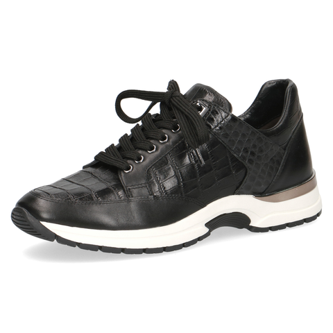 Caprice Black Croc Print Leather Trainer 9-23700-25 039
