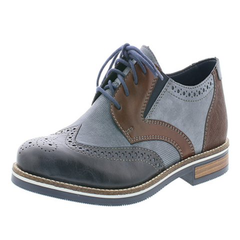 Rieker Mens Shoe Tan/Navy Combination 17820-24