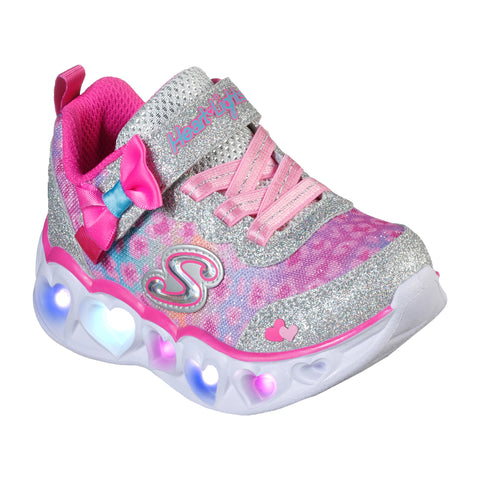 Skechers Kids Velcro Trainer Heart Lights Sliver/Hot Pink 302088N/SLHP
