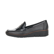 Rieker Black/Patent Wedged Slip-On Shoe 53732-00