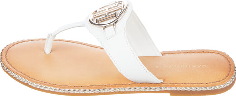 Tommy Hilfiger White/Ecru Essential Leather Flat Toe-Post Sandal