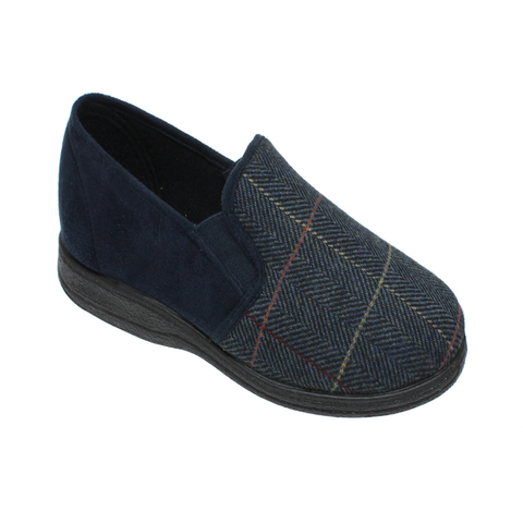Goodyear Mens Memory Foam Navy Check Slippers HARRISON