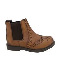 Roamers Kids Dealer Boots Tan Leather Brogue Style