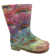 Kids Rainbow Wellies Pink Combination