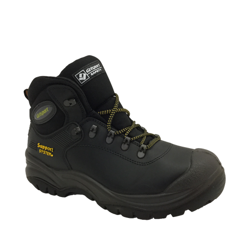 GRI Sport Mens Steel-Toe Laced Safety Boot Contractor Black