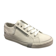Mustang White Laced/Zip Trainer 1146-302-1