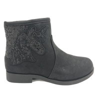 BMS Kids Black Unicorn Ankle Boot