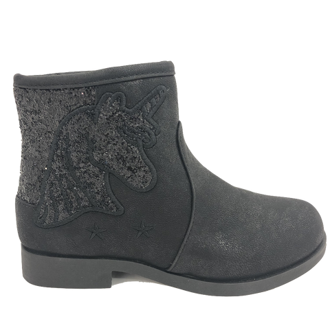 Buckle My Shoe Kids Black Unicorn Ankle Boot