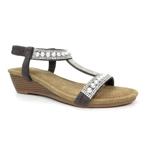 Lunar Grey Pearl Wedge Sandal EBONY JLH136 GR