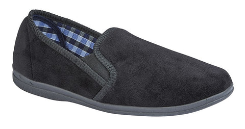 Sleepers Mens Black Memory Foam Slippers