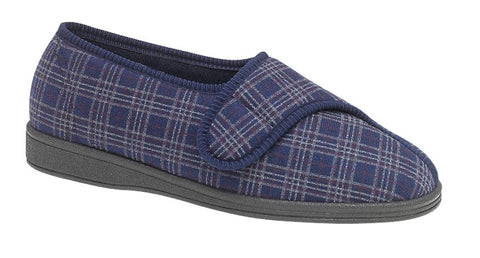 Sleepers Mens Navy Check Velcro Slippers
