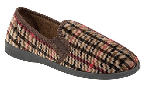 Sleepers Mens Brown Check Slippers