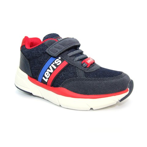 Levis Kids Velcro Trainer Oregon Blue Denim Red