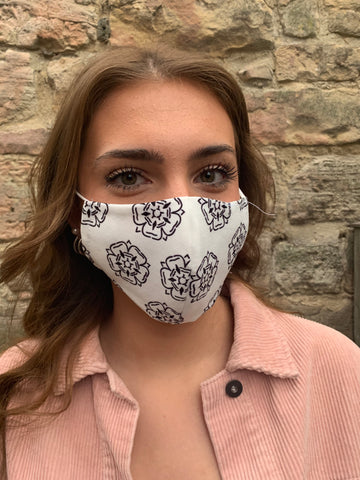 White & Black Yorkshire Rose Face Mask