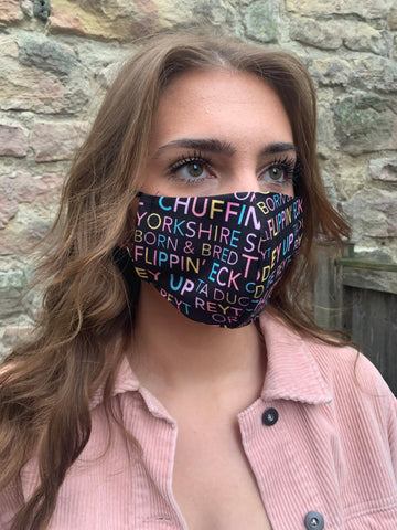 Black & Rainbow Yorkshire sayings Face Mask