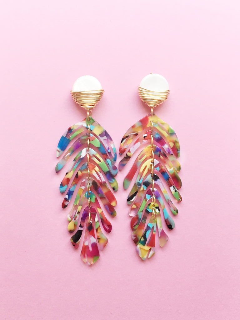 Palm Multi Color Earrings
