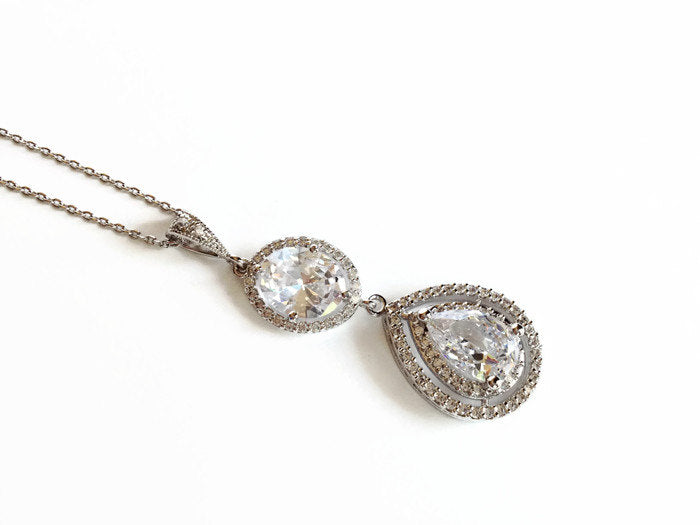 The Christina Necklace with Oval Halo Accent