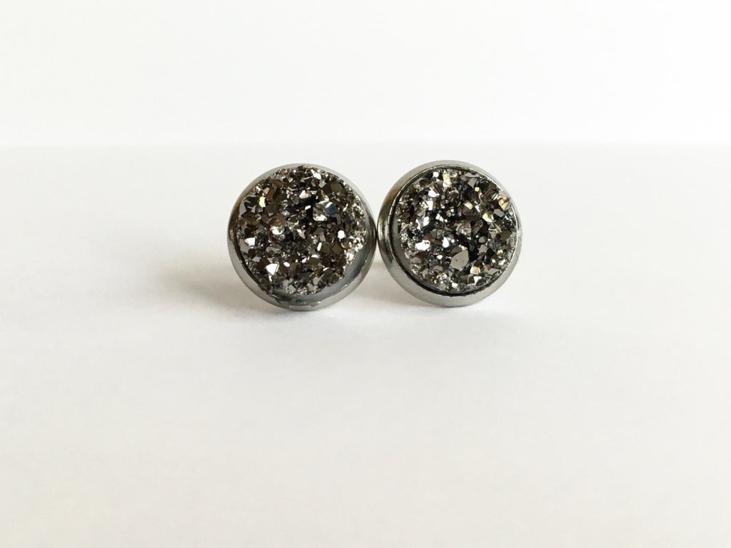 Gunmetal Druzy Stud Earrings