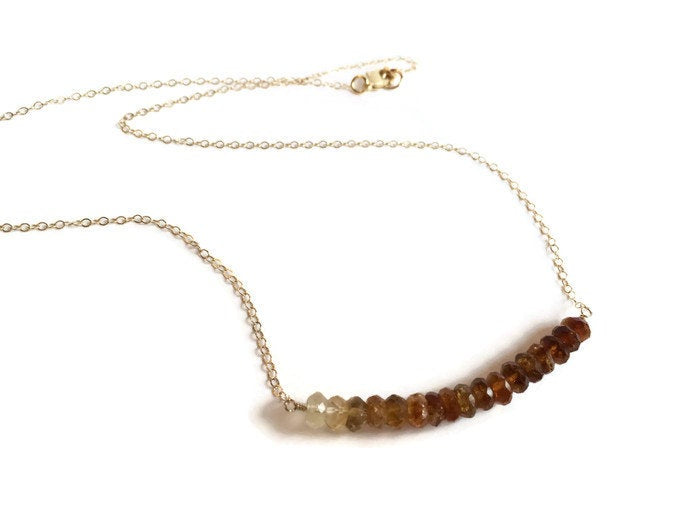 Brown and Gold Ombre Gemstone Necklace