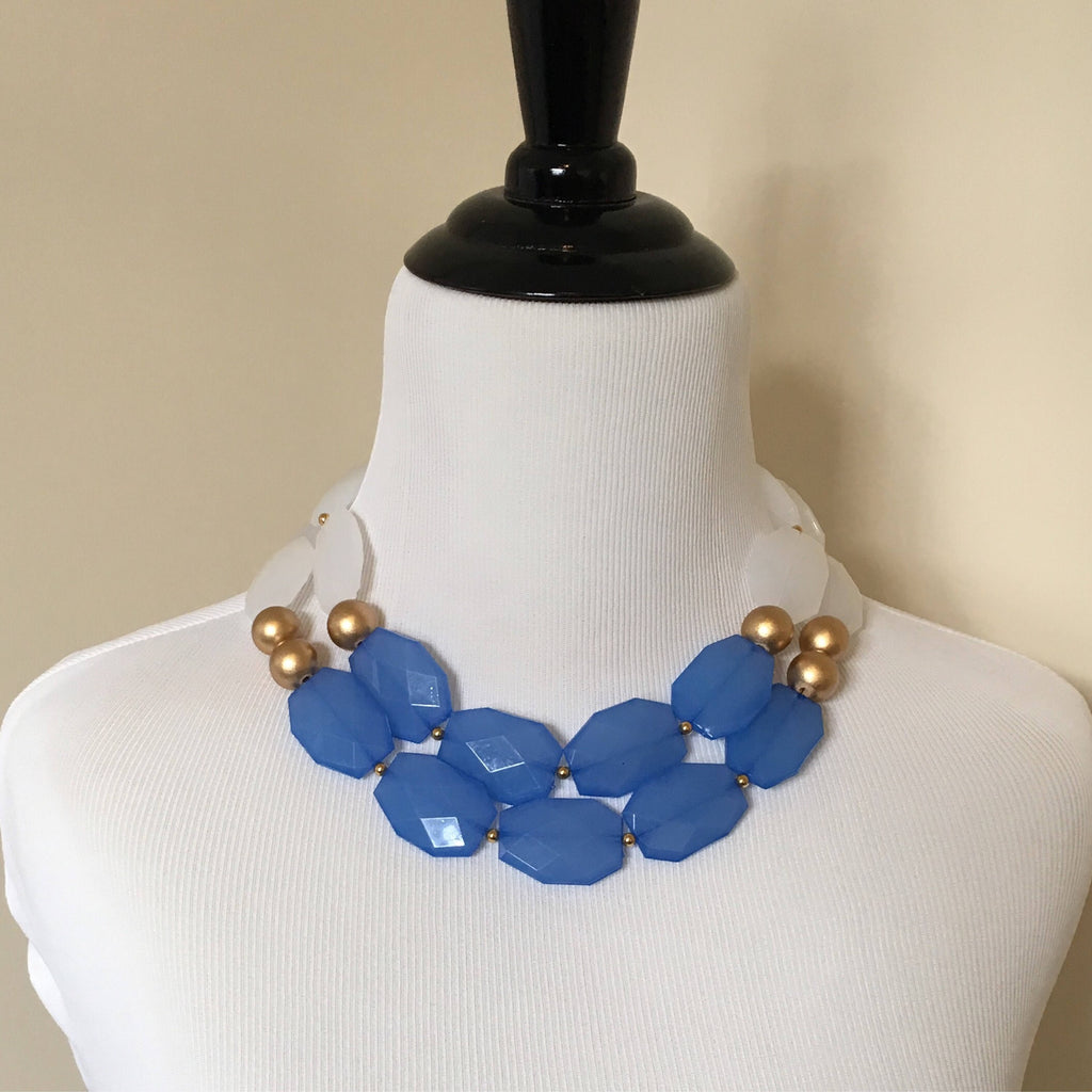 White, Gold, and Blue Acrylic Statement Necklace