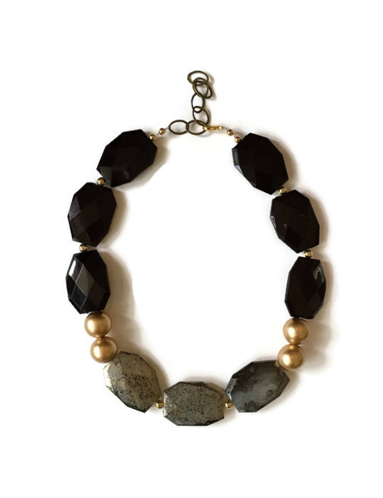 Gold and Black Chunky Acrylic Statement Necklace