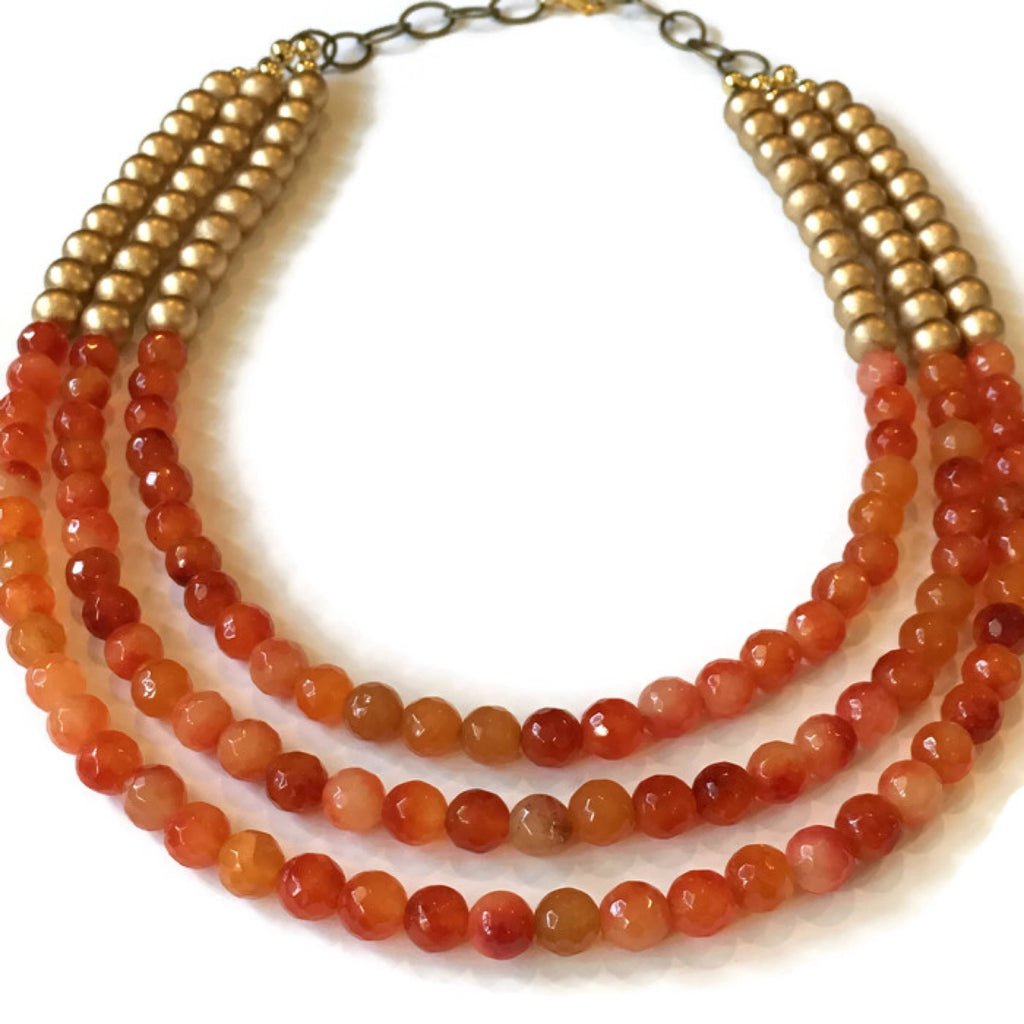 Gold and Burnt Orange Multi Strand Beaded Necklace