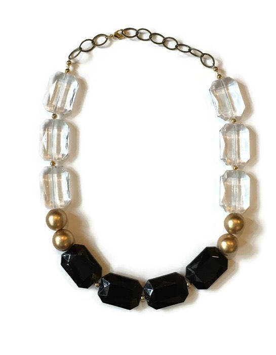 Black and Gold Acrylic Beaded Necklace