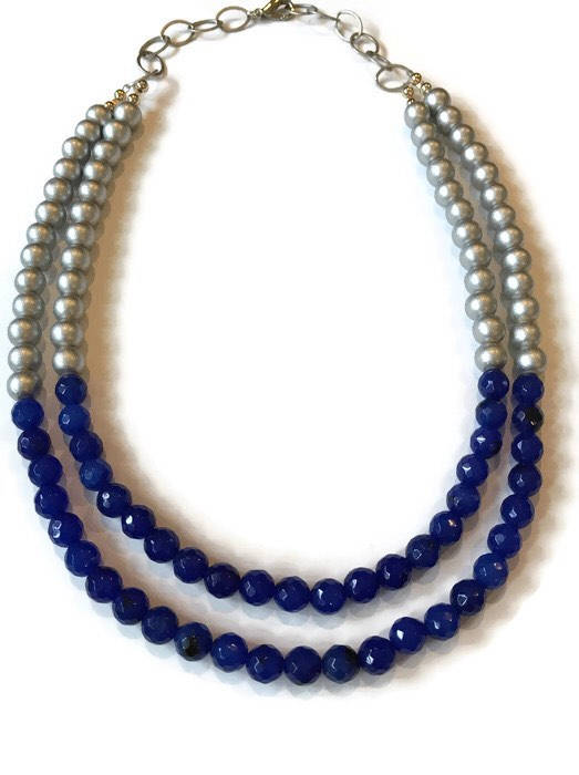 Blue Quartz and Silver Multi Strand Statement Necklace
