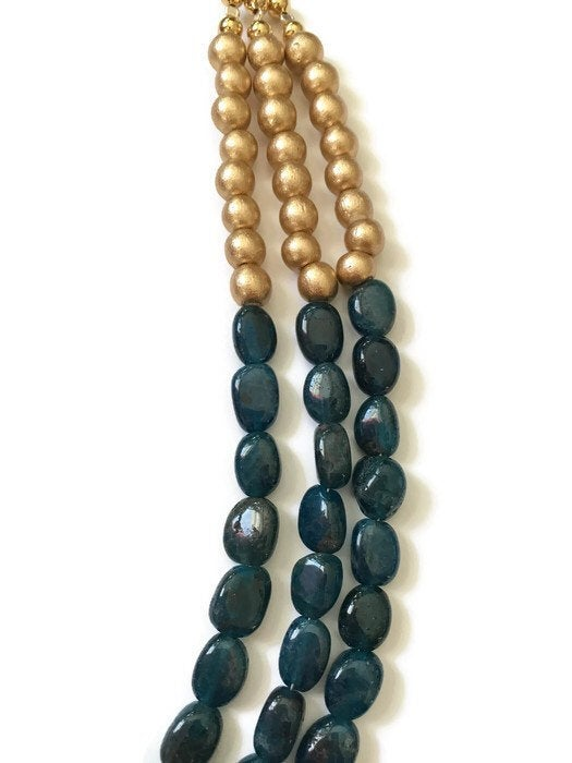 Teal and Gold Bib Necklace