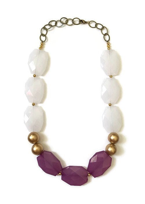 Purple Acrylic Statement Necklace