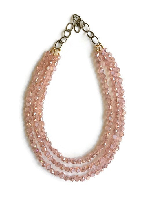 Pink Beaded Statement Necklace