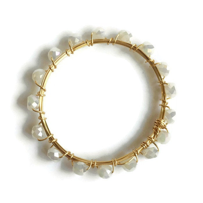 Gold and White Crystal Bangle Bracelet
