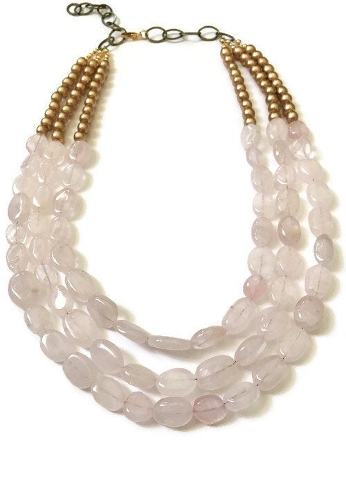 Blush Pink Rose Quartz Beaded Statement Necklace