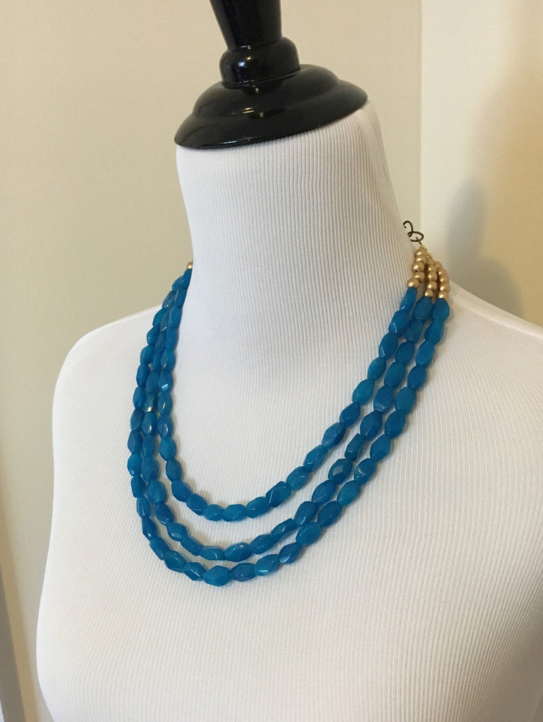 Teal and Gold Bib Necklace Jewelry
