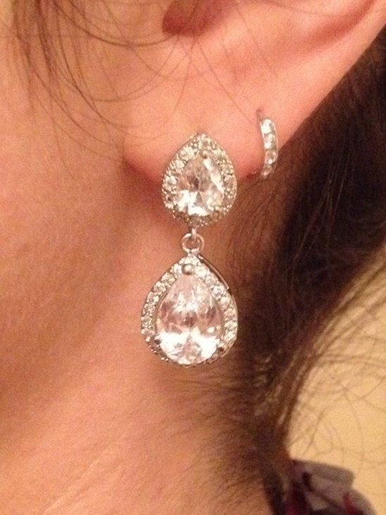 The Mary Kate Wedding Earrings with Teardrop Stud