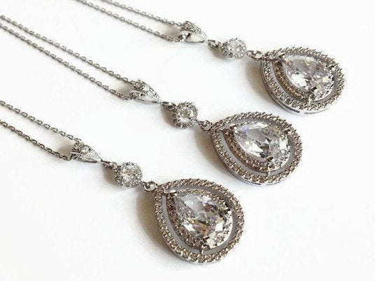The Christina Necklace with Round Halo Accent