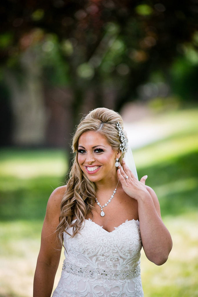The Christina Wedding Earring with Round Halo Stud