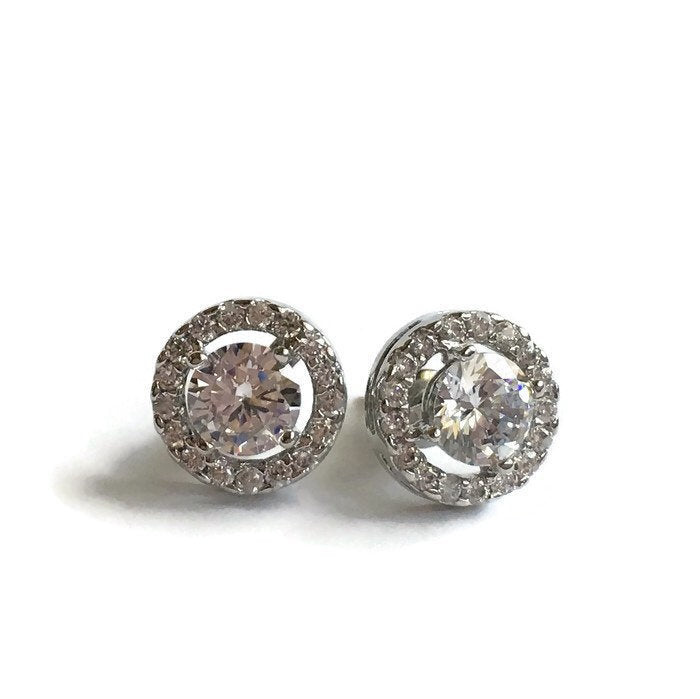 Round Crystal Halo Stud Earrings