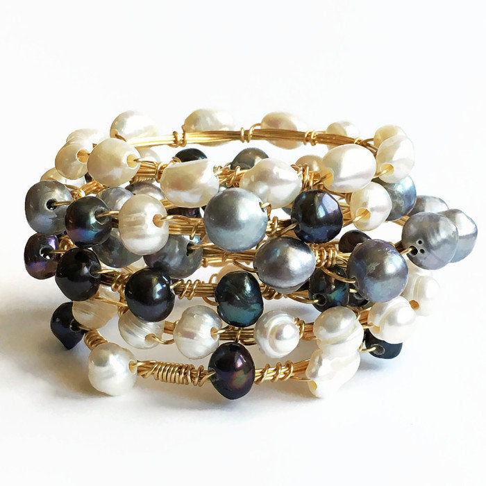 Pearl and Gold Wire Wrapped Bangle Bracelets