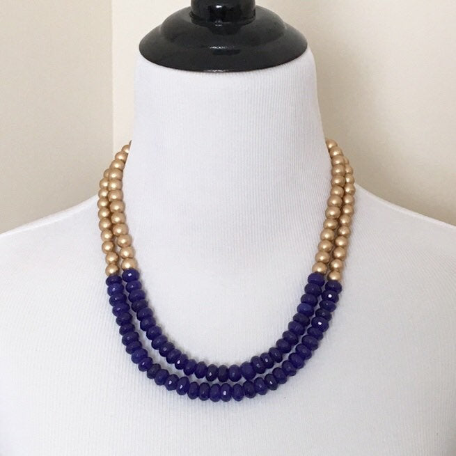 Blue Jade and Gold Multi Strand Statement Necklace