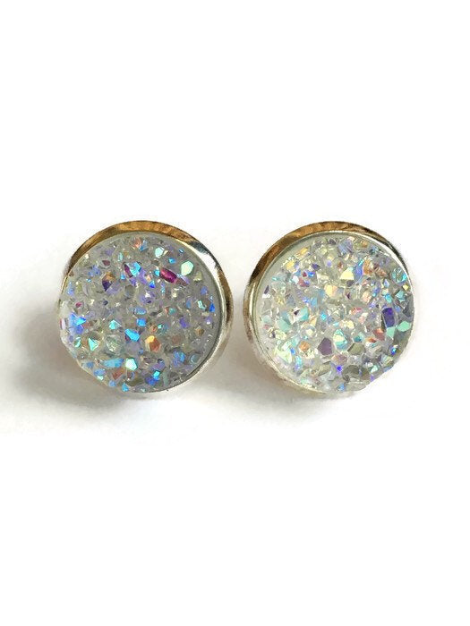 Champagne Glitter Druzy Stud Earrings