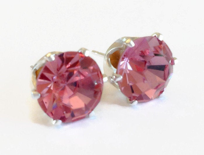 Pink Swarovski Stud Earrings