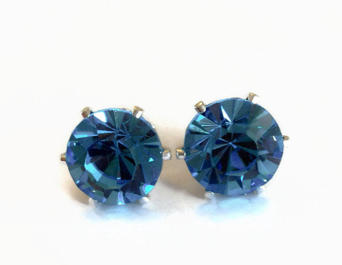 Aquamarine Crystal Stud Earrings