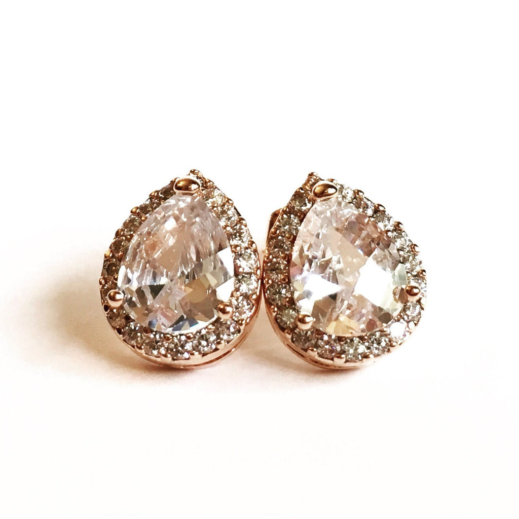 Rose Gold Teardrop Stud Earrings